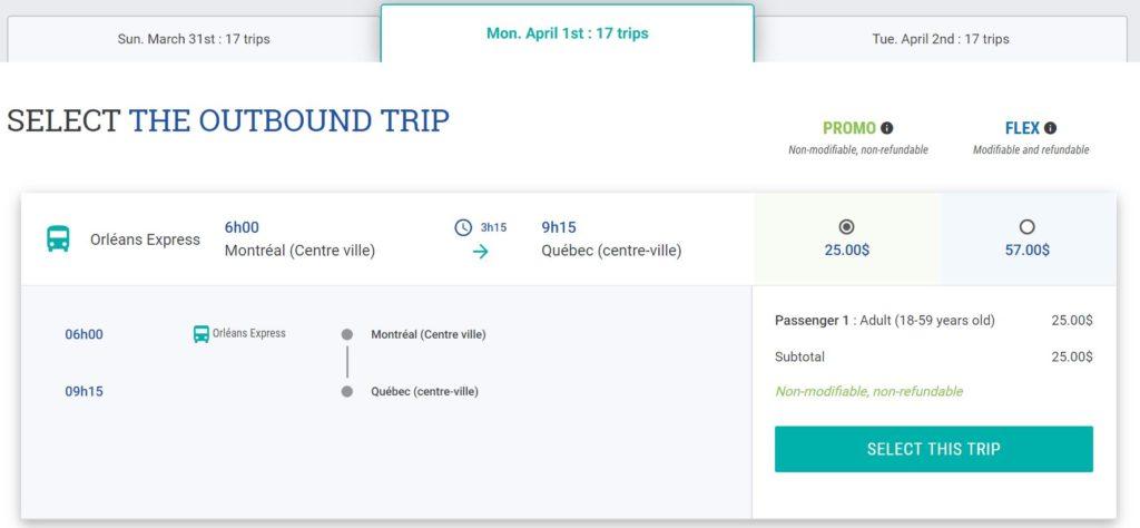 ケベックのオルレアンエクスプレスのチケット購入方法