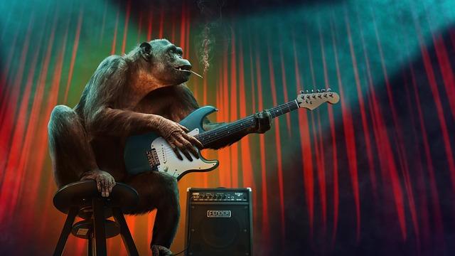 ゴリラがギターを弾く