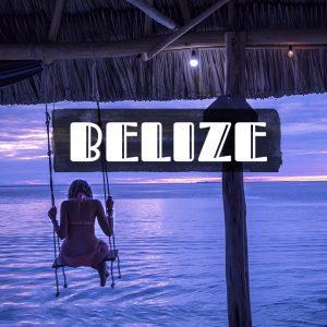 ベリーズのビーチの夕日