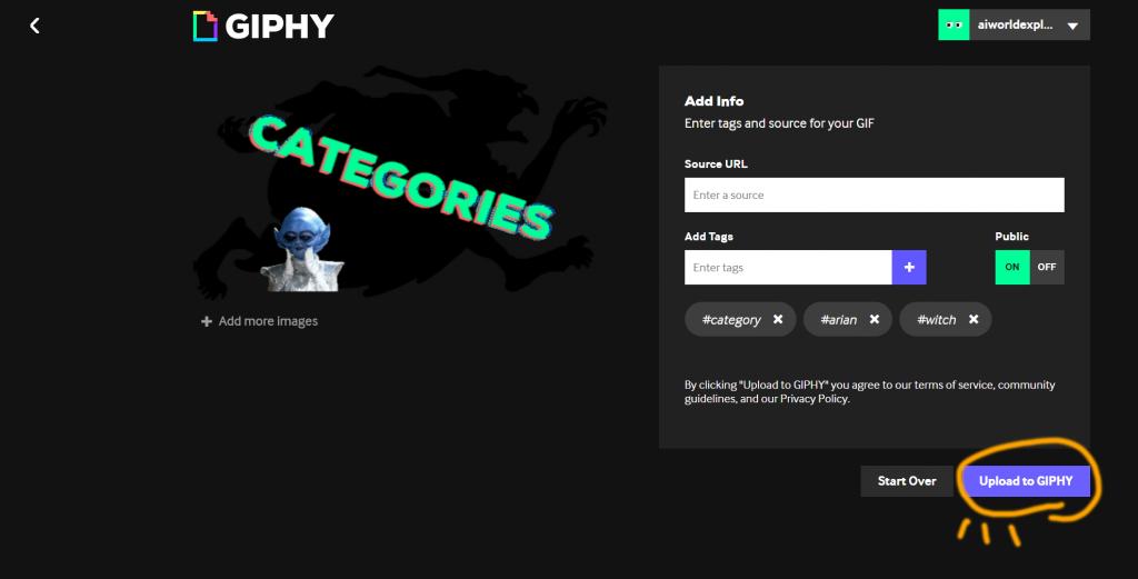 GIPHYで作ったGIFの貼り付け方法