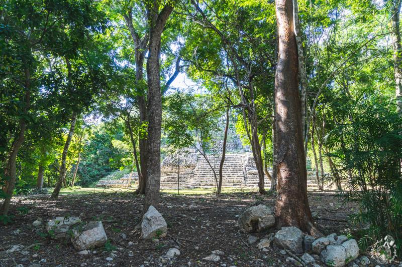 メキシコカンペチェのマヤ遺跡エズナ遺跡のピラミッド