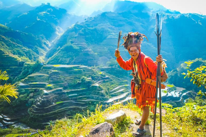 フィリピンのバナウェと先住民の男性